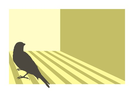 Canary bird silhouette with geometric background