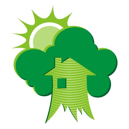 environmental responsibilities: Green house environmental symbol