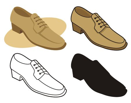 Male shoe in four versions 1 Stock Vector - 2626803