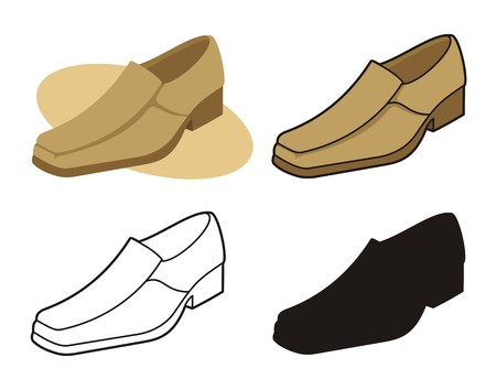 Male shoe in four versions 3 Vector