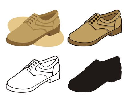 Male shoe in four versions 4 Vector