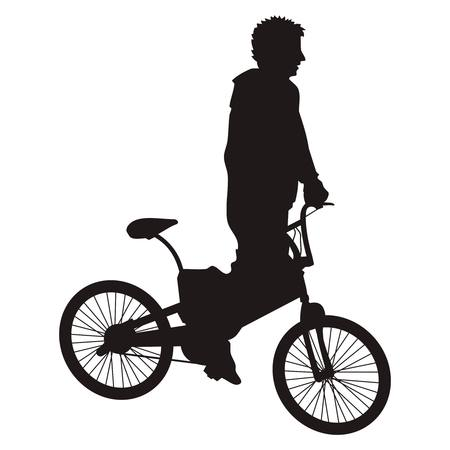 stunt: Bicycle rider silhouette isolated on white Illustration