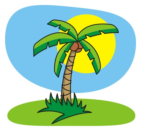 Cartoon illustration of palm tree
