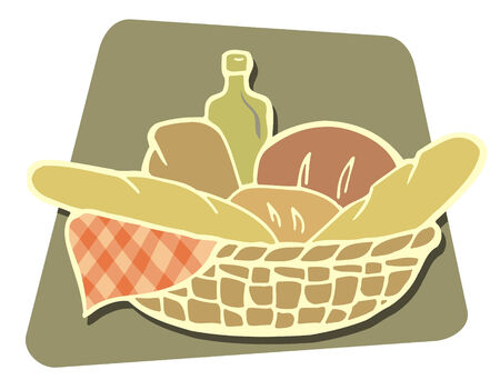 Basket of breads icon Illustration