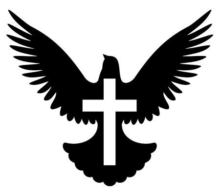 pigeons: Dove avec croix symbole