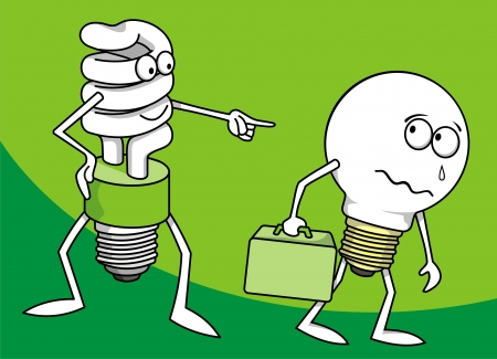 compact fluorescent lightbulb: Incandescent light bulb persecuted by a fluorescent one