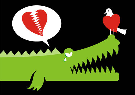 Alligator expressing his love for bird with crocodile tears Vector