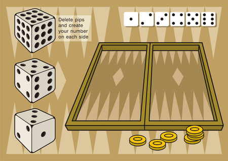 backgammon: A game of backgammon. Create your own numbers on dice by deleting pips on each side