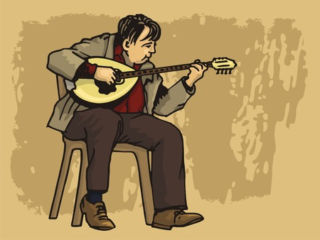 taverns: Middle aged man playing bouzouki on grunge background