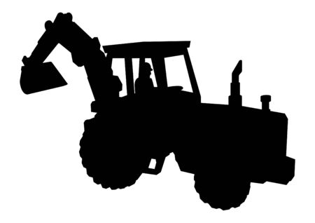 earthmover: Silhouette of excavator