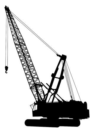 bouwkraan: Silhouet van de bouw kraan Stock Illustratie