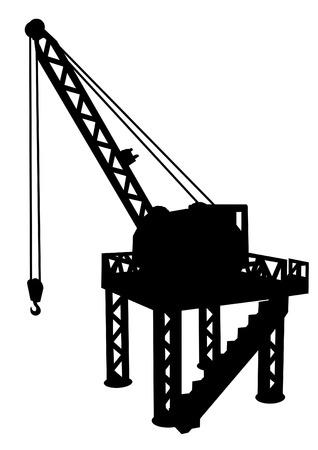 construction platform: Silhouette of construction platform with crane