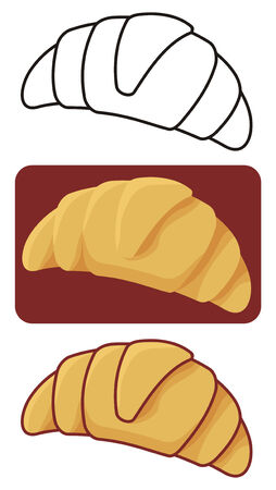 Croissant icon in three versions