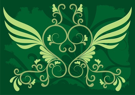 Decorative illustration on grunge dark green background Stock Vector - 2985984