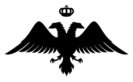 Doble encabezada silueta águila con corona, símbolo de los reyes bizantino  Ilustración de vector
