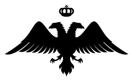 silhouette aquila: Doppia aquila silhouette con a capo la corona, simbolo del re bizantino Vettoriali