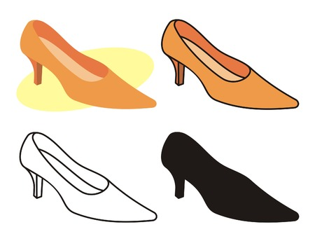 illustration of female shoe in four versions Stock Vector - 2994821