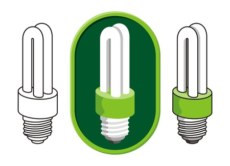 Illustration of a compact fluorescent light bulb icon in three versions