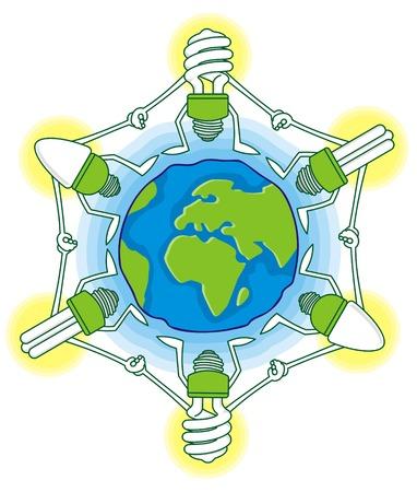 blue bulb: Earth globe cartoon with compact fluorescent light bulbs