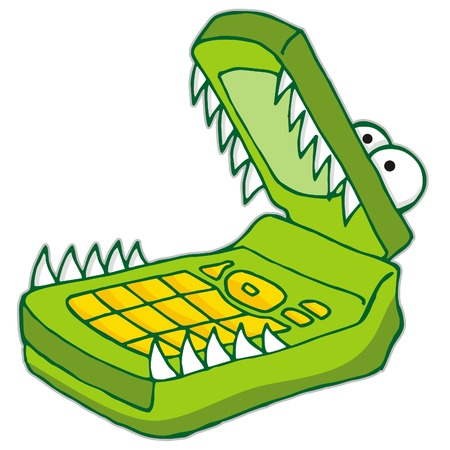 Cartoon illustration of green hungry cellphone Stock Vector - 2998696