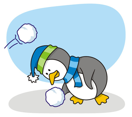 cartoon van kleine pinguin met sneeuw Vector Illustratie