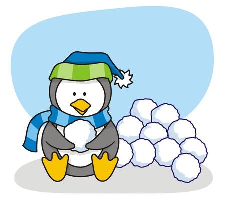 snowballs: cartone animato di poco pinguino con neve
