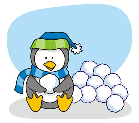 cartoon of little penguin with snow Stock Vector - 3005991