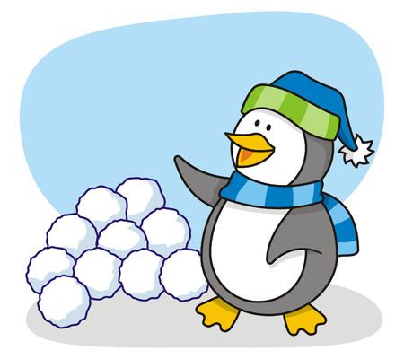 boule de neige: dessin anim� de petit pingouin avec la neige