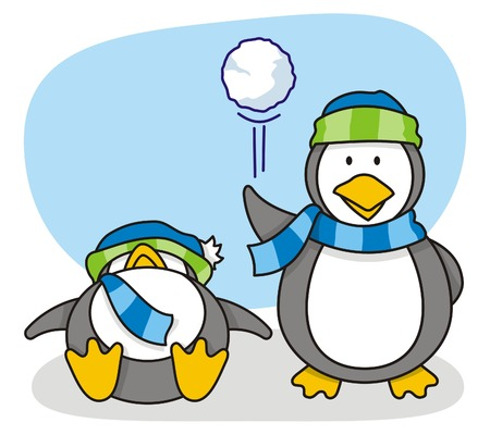 cartoon of little penguins with snow Illustration