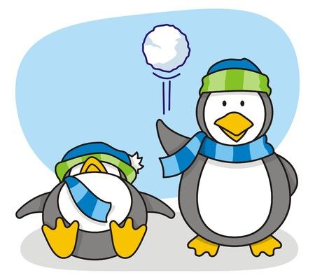 bolas de nieve: dibujos animados de ping�inos con poca nieve