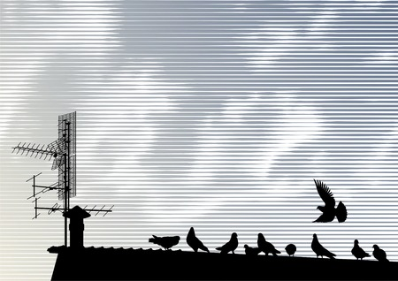 Pigeons and antenna silhouettes on a roof under a woodcut sky