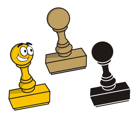 Rubber stamp in three styles Illustration