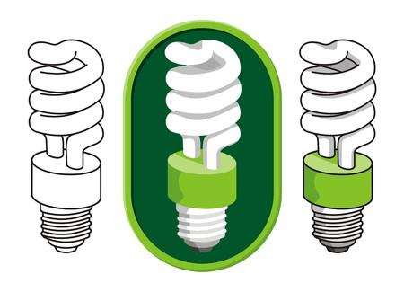 �conomie verte: Spiral ampoule fluorescente compacte  Illustration