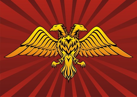 Double headed eagle in dark red background
