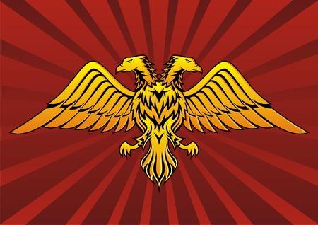 sosie: Double t�te d'aigle dans le noir sur fond rouge  Illustration