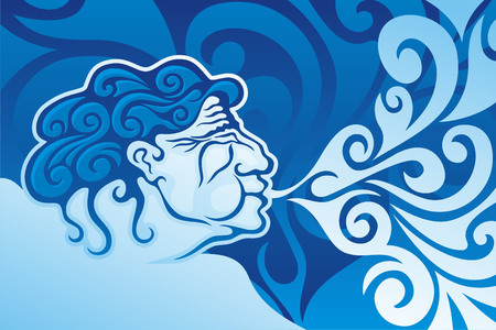 Aeolus, the ruler of the winds in Greek Mythology Illustration