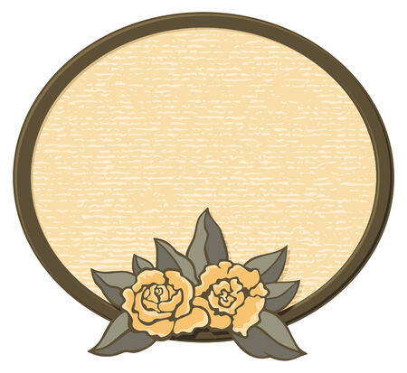 Decorative oval frame with roses in sepia tones. Vector
