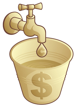 Golden tap dripping cents in a bucket of dollars