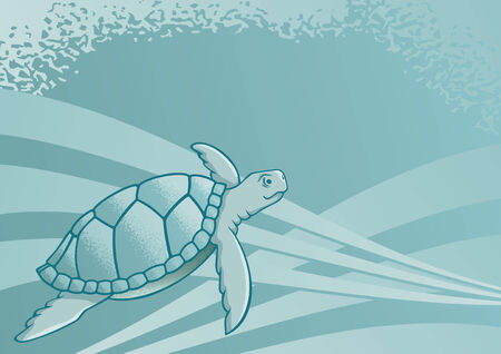 Sea turtle background for page layout or presentations Vector