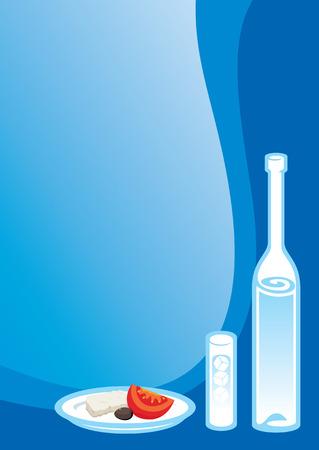 Ouzo y botella de vidrio con bocadillo griego  Ilustración de vector