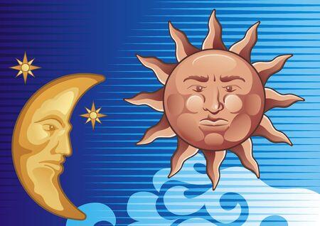 Sun and Moon decorative illustration background Vector