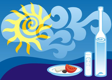 Greek summer background illustration with ouzo bottle and glass