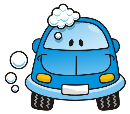 Happy blue cartoon car washing with soap bubbles Vector