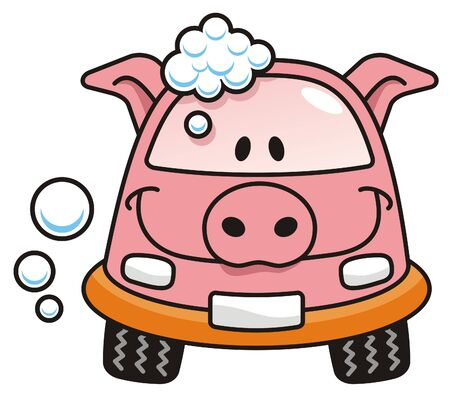dirty car: A pig cartoon car washing with soap bubbles Illustration