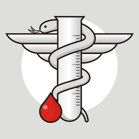 Microbiologists icon with test tube and blood drop Vector