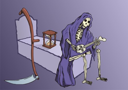 Grim reaper with hourglass and skythe playing music Vector