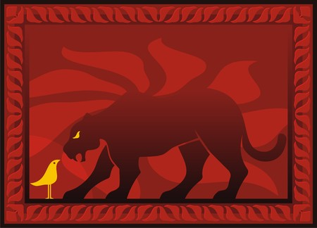 Bird and panther silhouettes on dark red decorative background Stock Vector - 3593577