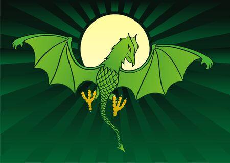daemon: Green daemon on dark green background with full moon