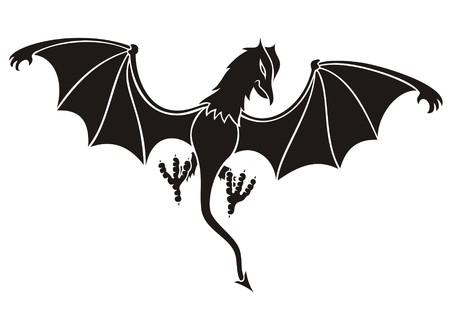 daemon: black daemon silhouette with wings wide open