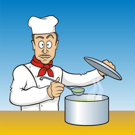 Cartoon chef with scoop testing the soup